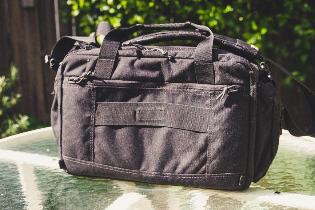 First Tactical Executive Briefcase rear shot luggage passthrough