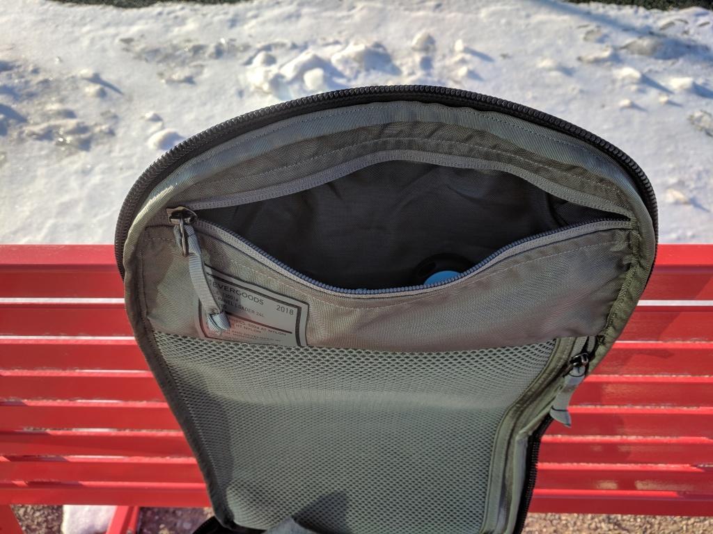 EVERGOODS Civic Panel Loader 24 backpack review top internal pocket