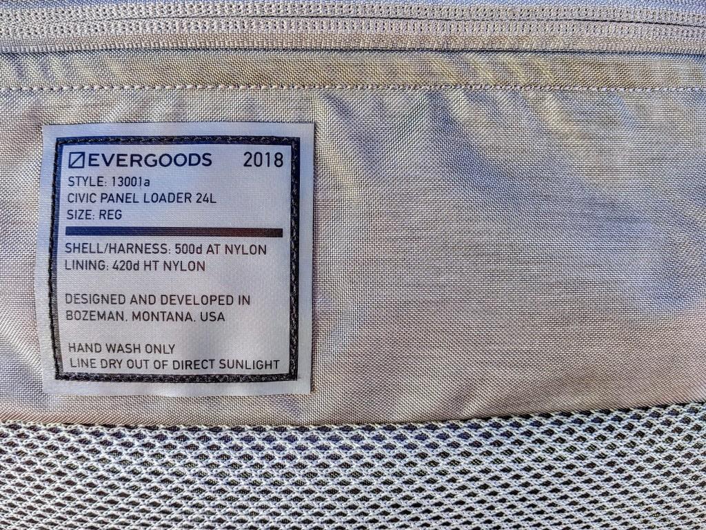 EVERGOODS Civic Panel Loader 24 backpack review label