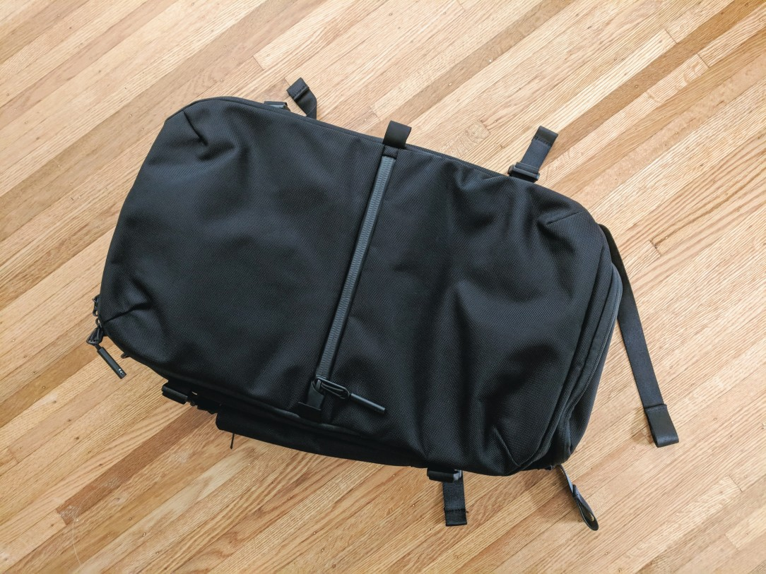 Aer Travel Pack 2 backpack review front view on ground