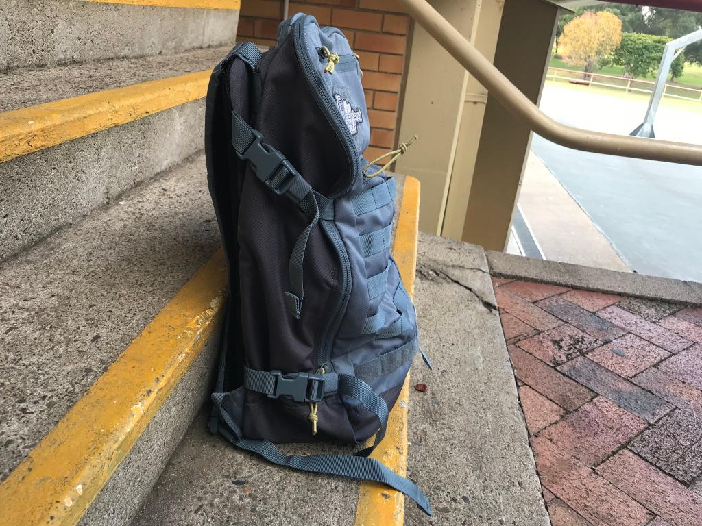 5.11 Quad Zip Pack Side View compression straps backpack review