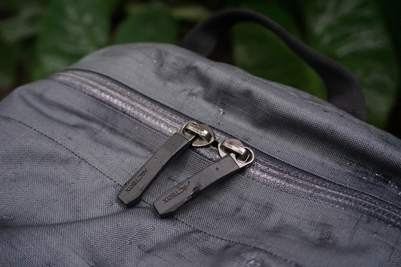 Arc'teryx Granville Zip 16 zipper pulls detail water resistant weather resistant zippers