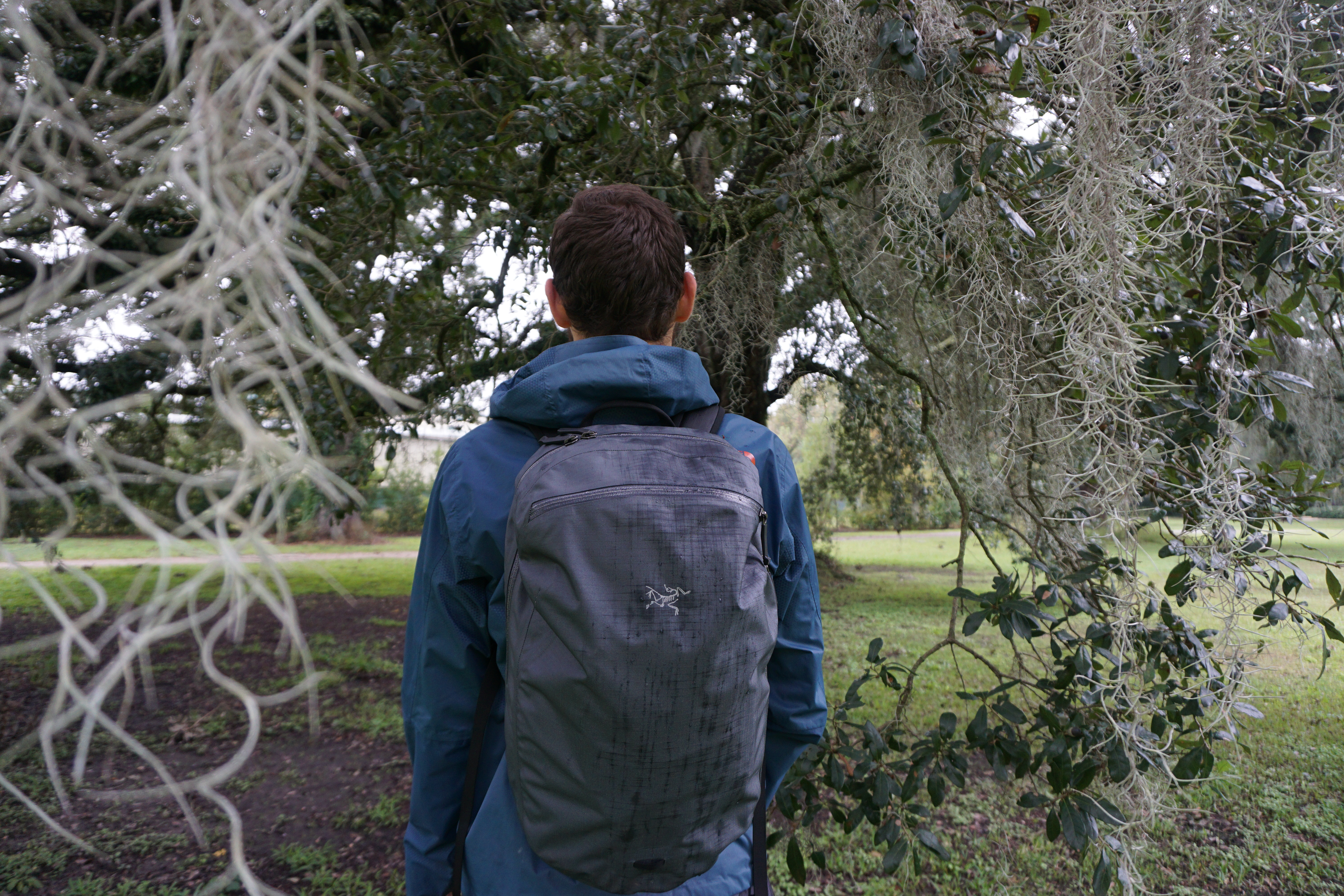 Arc'teryx Granville zip 16 weather resistant waterproof backpack on body natural light outdoors backpack review