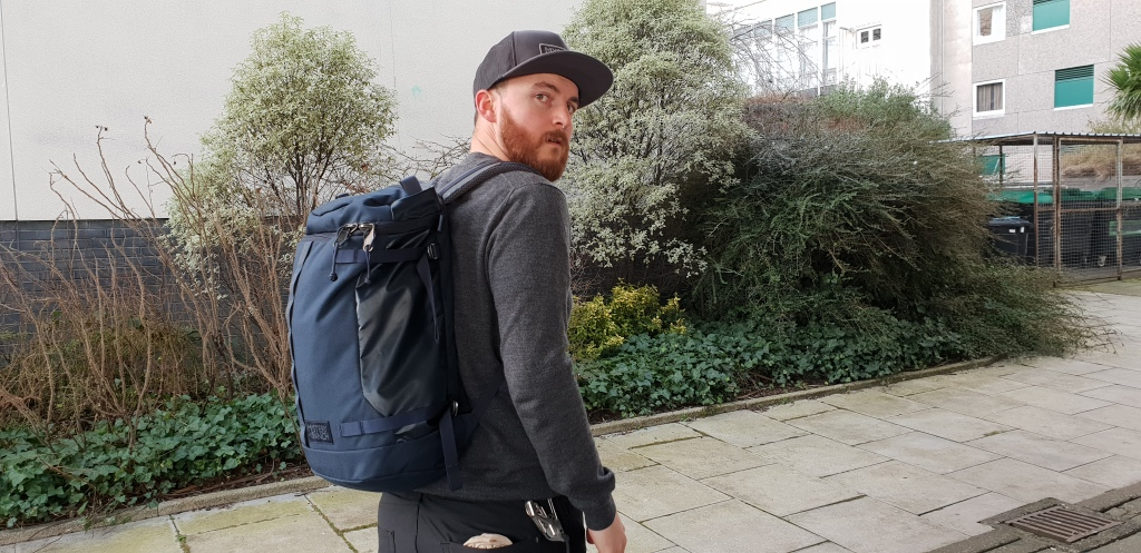 Mystery Ranch Robo Flip backpack review on body urban edc backpack grey clothing galaxy colour