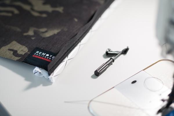 Remote Equipment backpack designer interview black multicam fabric design workshop sewing table
