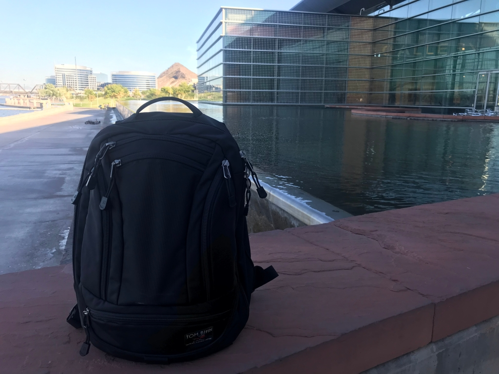 Tom Bihn Synik 22 Review front of bag on bridge