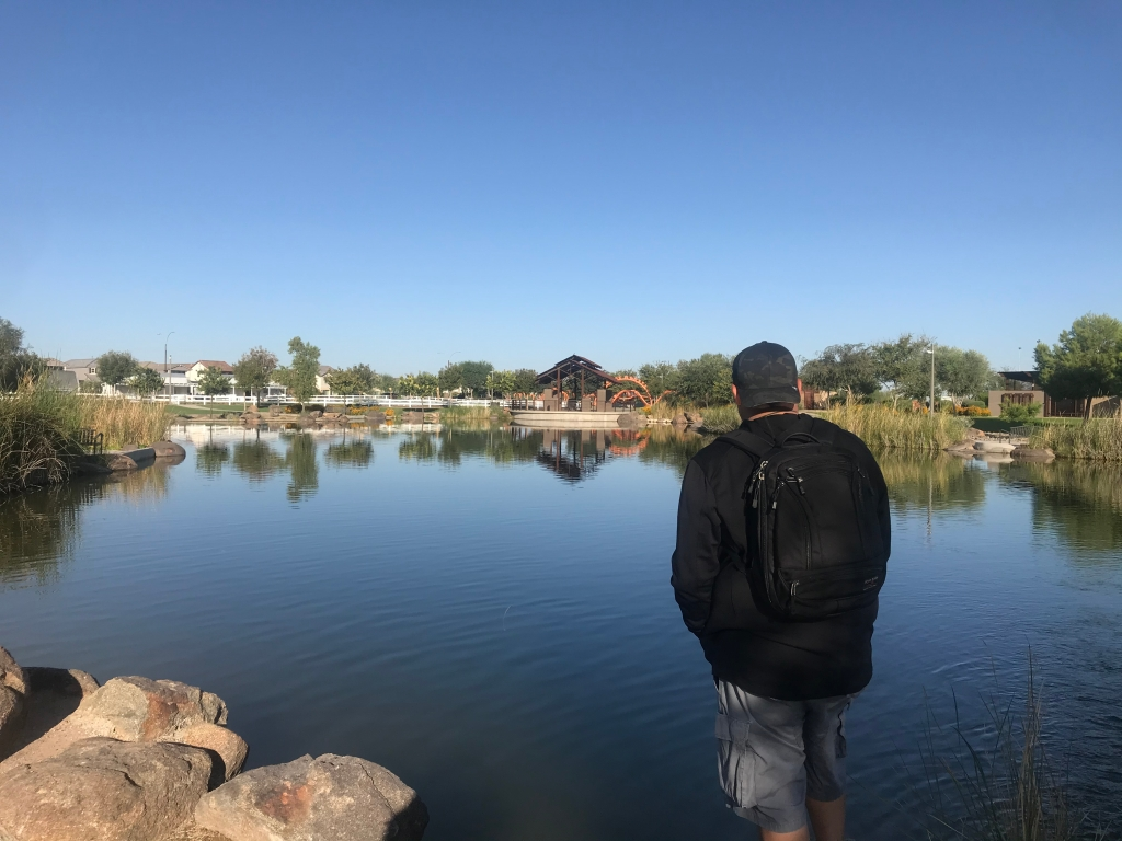 Tom Bihn Synik 22 Review wearing on back in front of water