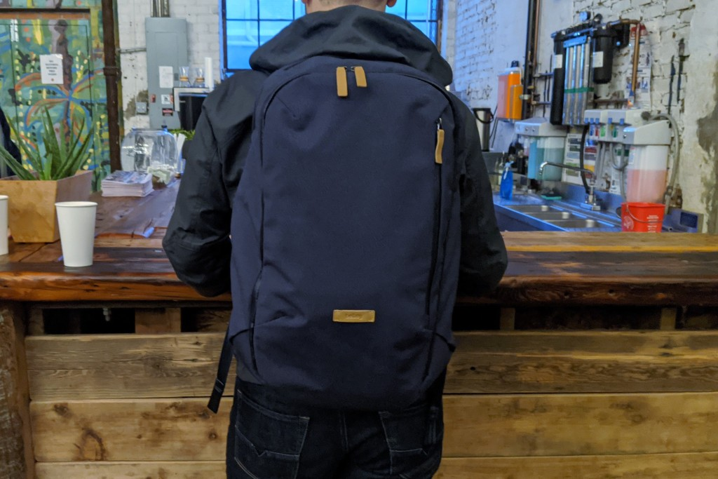 Bellroy Transit Review wearing in bar on  back